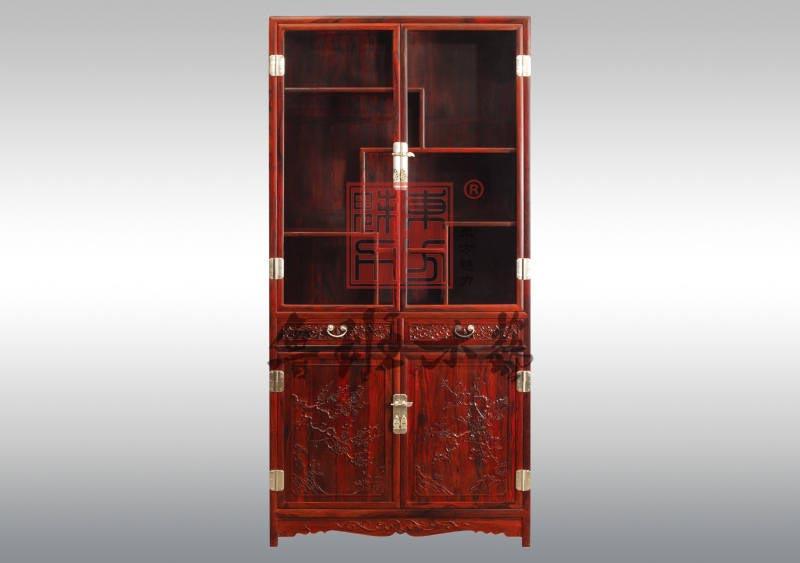 鲁班木艺红木:酸枝 玻璃博古柜